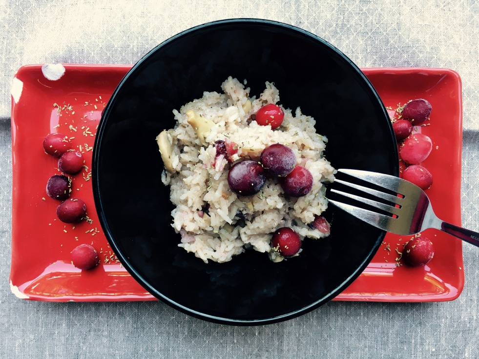 Cranberry and mushroom risotto in bread maker - sourdoughmovement.com